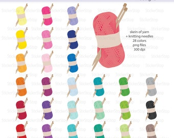 Knitting with Yarn Icon Digital Clipart in Rainbow Colors - Instant download PNG files