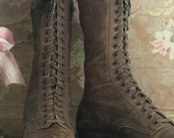 Antique Victorian Brown Leather Boots Shoes 21 Eye Laces