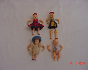4 Vintage Plastic Baby Dolls - They Need Re-Strung  18 - 847
