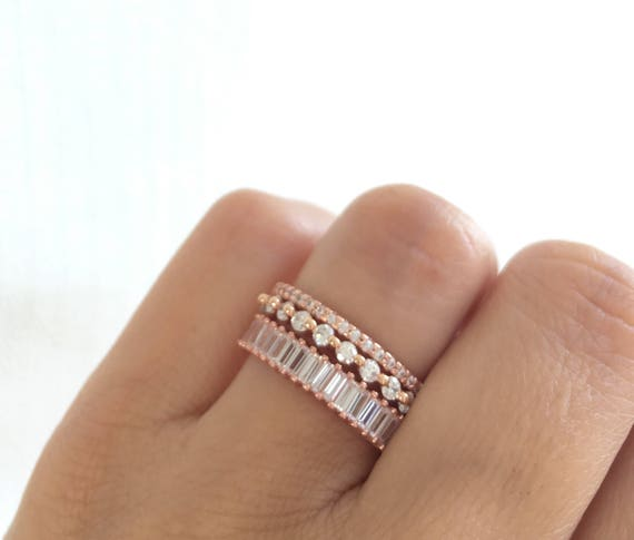 Rose Gold Eternity Ring Set Stackable Rings Rose Gold