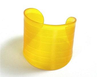 Yellow Colored Vinyl Record Album Wrist Cuff Size Medium to Large