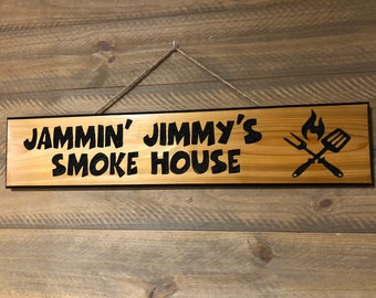 HAND CARVED/Personalized Wood Sign/Name Wood Carved Sign/Handmade Wooden Sign/Wood Smoke House Sign//Personalized Wood House Sign