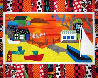 Sunset n Boats, Free Shipping, Fishing Village, Fishing Boats, Community Card, Rural Life, Hipster Card, Colorful Card, Seaside Card, Ocean