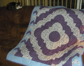 Hand Quilted Purple, Blue and Floral Ozark Puzzle aka Love Ring