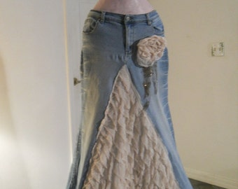 Belle Époque jean skirt creamy ruffled silk  beige lacy bohemian beach goddess mermaid Renaissance Denim Couture Made to Order
