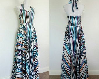 Vintage 80s does 40s colourful alterneck summer maxi dress size M