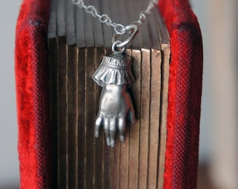 Solid Silver Antique Ladies Cuffed Hand Pendant or Necklace