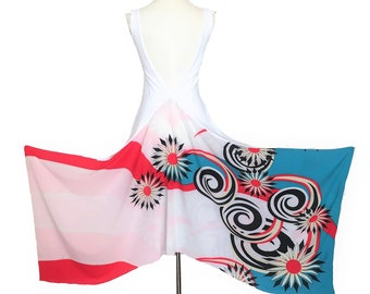 Backless top, Argentine tango top, white top with graphic print. High low crop top with deep V back for wedding guest. Burning man costumes.