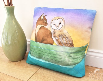 Owl and Pussy Cat Illustration Throw CushionCushion Cover, Throw Cushion, Pillow, Decorative Cushion, Poetry Gift, Cat Lover Gift