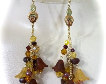 60% OFF SALE Boho Chic Flower Dangle Earrings in Burgundy and Golden Yellow