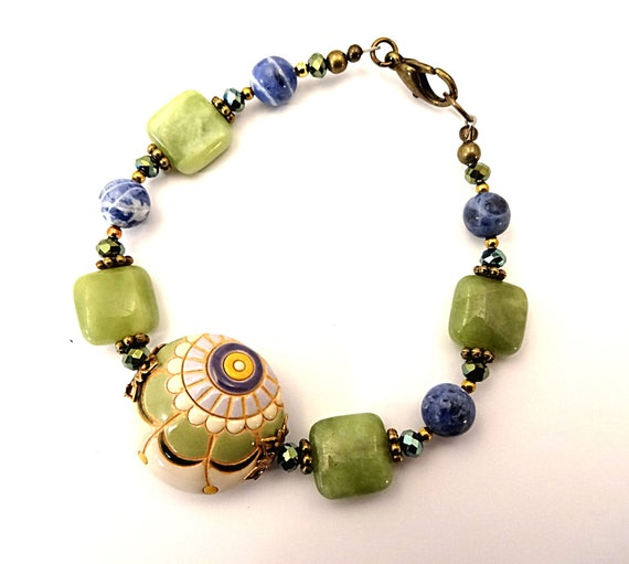 Boho Rustic Bracelet Artisan Bracelet Golem Studio Ceramic Sodalite Bracelet Gemstone Bracelet Boho Jewelry Rustic Stone Jewelry