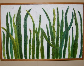 Grass original oil painting 8 in X 12 in