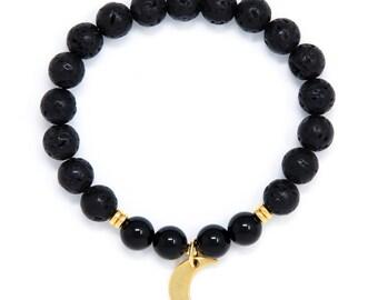 Crescent Moon Bracelet, Black Lava Mala Bracelet, Black Onyx Yoga Bracelet, Wrist Mala Beads, Yoga Jewelry, Spiritual Jewelry