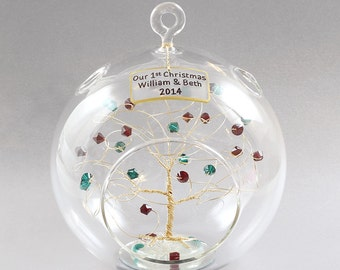 Our First Christmas Ornament Couples 1st Christmas Ornament Personalized Birthstone Tree Custom Gift Idea with Swarovski Crystal Elements