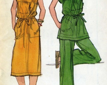 Vintage 70s Vogue 9726 UNCUT Misses Dress or Tunic  with Drawstring Waist, Straight Legged Pants,  Sewing Pattern Size 14 Bust 36