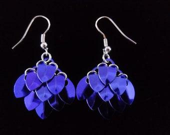 Purple Scale Maille Earrings