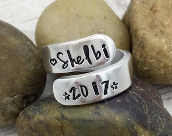 Senior Ring - Class of 2018 Ring - Graduation Gift - Grad Ring - Graduates Ring - Hand Stamped Wrap Ring - Personalized Ring