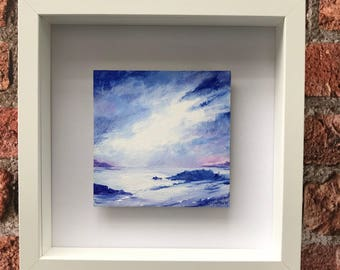 Seascape, skyscape, original painting, acrylic paint on board, framed and signed.