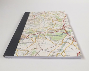 Guildford #3 - Hook - Recycled Vintage Map Notebook