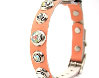 Peach Leather Cat Collar with Iridescent Rhinestones, Eco-Friendly, Size to fit a 8-10in Neck, OOAK