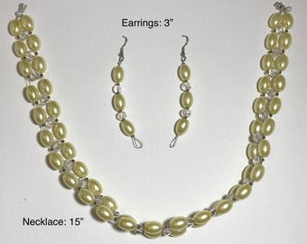 Yellow Pearl Choker and Earring Set