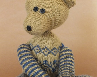 Teddy bear, hand knitted teddy, blue, brown