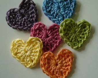 Rainbow of Crocheted Hearts - Cotton Hearts - Crocheted Heart Embellishments - Crocheted Heart Appliques - Set of 6