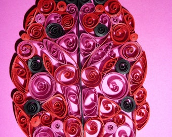 Ladybug quilled paper annniversaire, marriage, birth, baptism, holidays...
