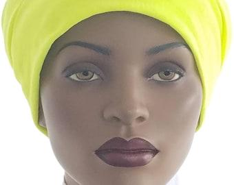 Huggee Locks Beanie™ Beanie Cap Hat Neon Yellow Tee Shirt Knit Rasta locs Tam Rastafari Dreadie Handmade