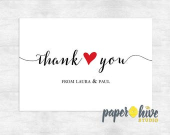 wedding thank you cards / thank you note cards / bridal shower thank you cards / printable thank you cards