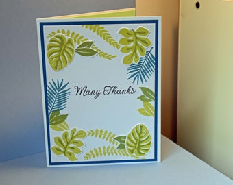 Many Thanks - Handmade Greeting Card - Green and Teal