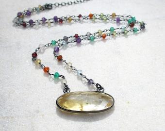 Oval citrine quartz necklace, boho multicolor gemstone necklace, wire wrapped chain necklace, dark sterling silver multi gemstone necklace