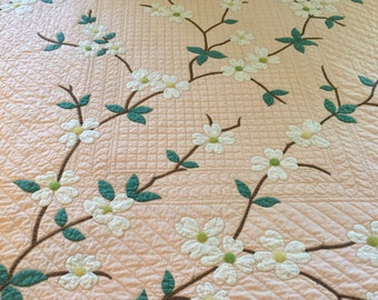 """Handmade Vintage Dogwood Applique Quilt from Kit 84"""" x 74""""  Pink Background Solid Tangerine Cotton Backing"""