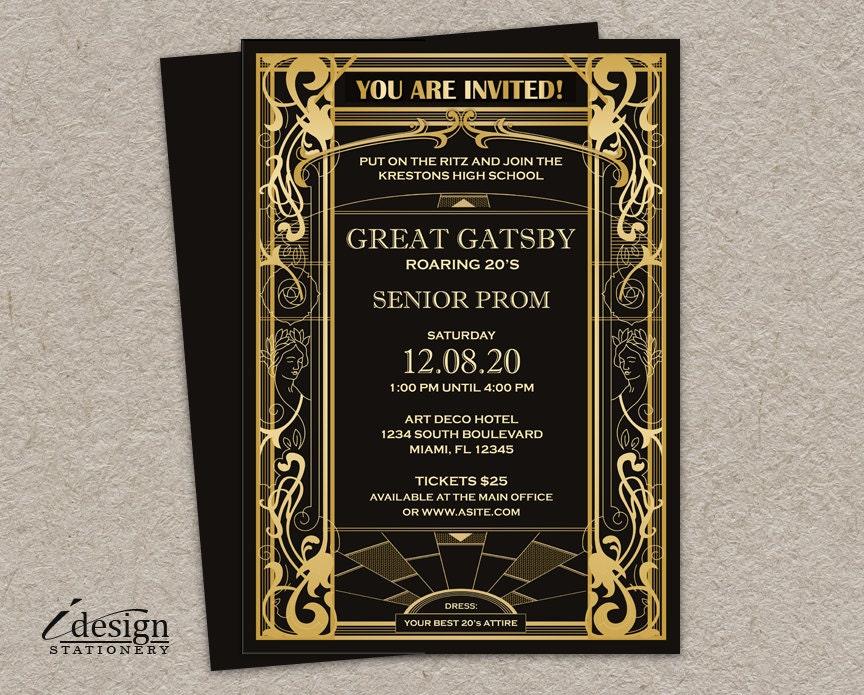 Great Gatsby Prom Invitation DIY Printable Vintage Art Deco