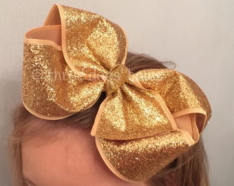 """XL 6""""+  Yellow Gold Glitter Bow - Large Yellow Gold Glitter Bow - XL Gold Glitter Hair Bows - Big Gold Hair Bow - Large Gold Bow"""