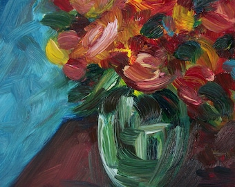 Moving Flowers in Vase, Original Oil Painting on Canvas.