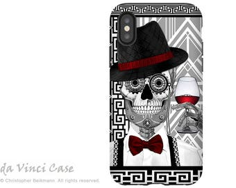 1920's Sugar Skull iPhone X Tough Case - Dual Layer Protection for iPhone 10 - Mr JD Vanderbone by artist Christopher Beikmann