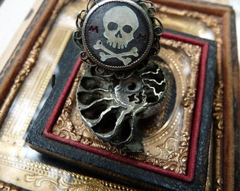 Antique European Memento Mori Skull and Crossbones Ring, Talisman for the Alchemist, by RusticGypsyCreations