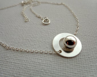 Sterling silver 925, 13.5 mm with a bead Circle Pendant Necklace round 6 mm 925 sterling silver, simple, modern, minimalist