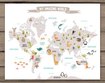 World map poster etsy animal world map kids world map poster nursery world map baby room map kids map art gumiabroncs Images
