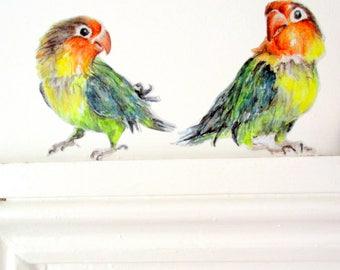 Aime les stickers muraux oiseau, décor décalé dortoir, Stickers muraux perroquet, décor tropical à la maison, oiseaux d'amour, décalcomanies excentriques, art mural oiseau exotique