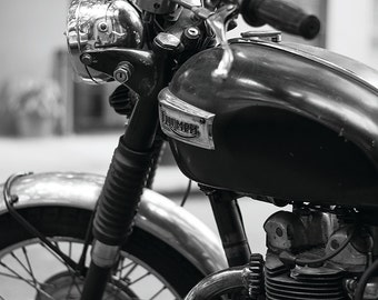 A Test Of Time, Vintage Triumph Motorcycle No. 2 - New York Photography - Black & White Fine Art Print