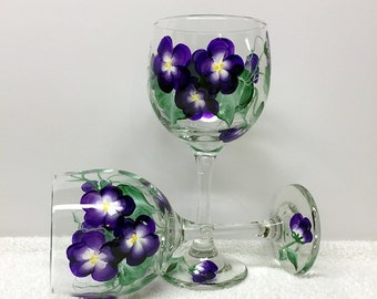 Hand Painted Violets Wine Glasses (set of 2)