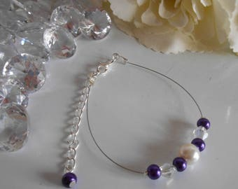 """Collection harmony"" bracelet purple and ivory"