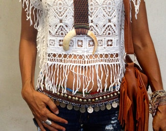 Boho Lace Top. One size. White, Black, Beige, Brown and Orange.