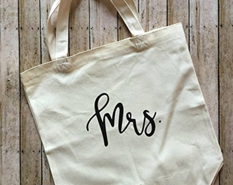 Bride Tote Bag/ Bridal Party Tote Bag / Mrs. Tote Bag