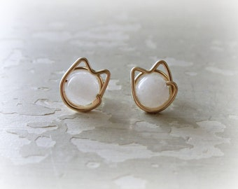 White Cat Studs, Gold Cat Earrings, Cat Lover Gift, Cat Stud Earrings, White Cat Earrings, Cat Jewelry, Kitty Stud Earrings, Kitten Earrings