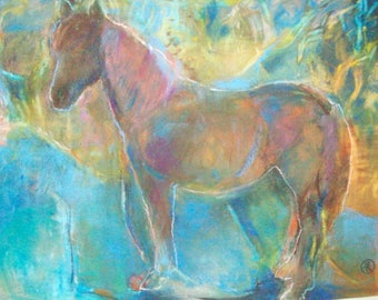 Original pastel of Horse in the Forest- abstract horse painting