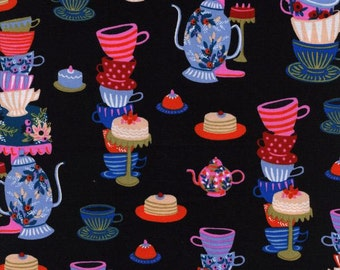 Wonderland Mad Tea Party Black by Rifle Paper co Quilting Cotton for Cotton & Steel Fabric