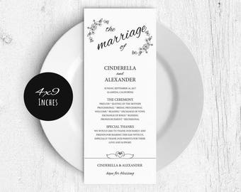 Printable Wedding Program Template, Rustic Wedding Ceremony Program, Instant Download PDF template, Kraft Wedding Program, LDS_43